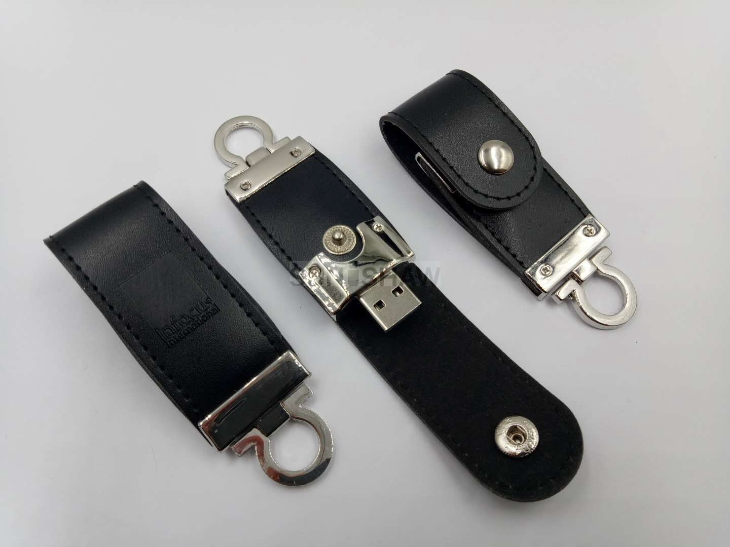 SL-001 Black PU leather usb memory with customized logo from China