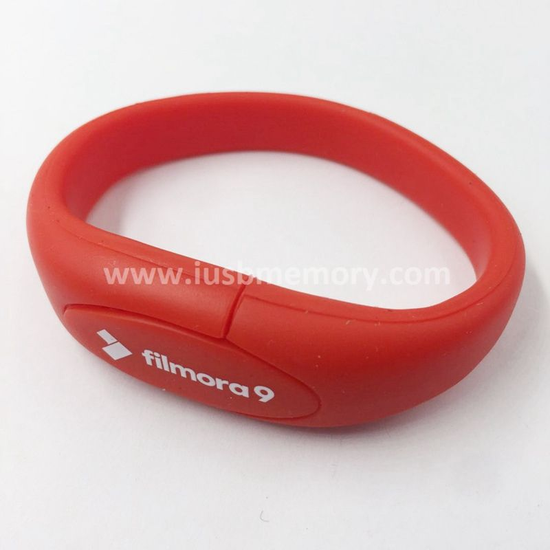 SW-007 promotional red rubber 1gb 2gb 4gb wristband usb memory