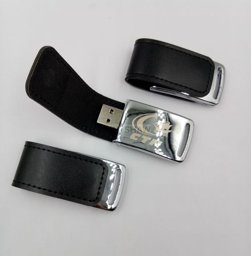 SL-004 Black PU leather usb flash drive with customized brand from Chinese supplier