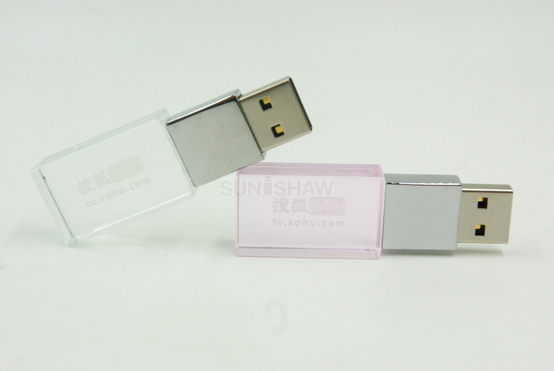 SR-003 Pink crystal usb memory with full capacity as wedding gift
