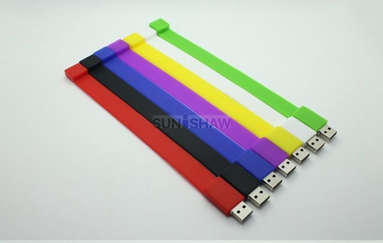 SW-001 Colorful silicon wristband shaped usb memory as parade gift