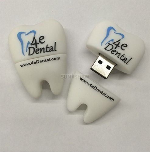 SV-006 White tooth shaped pvc usb flash drive for clinic