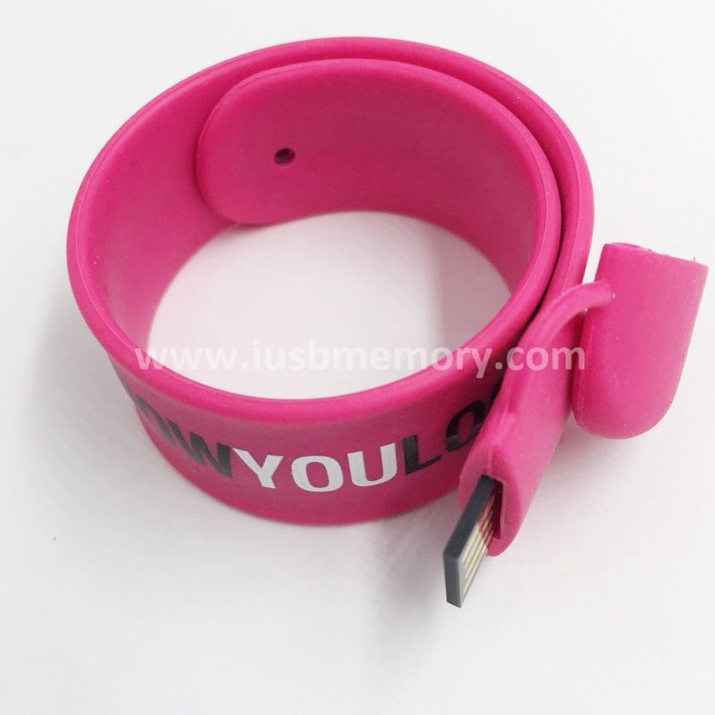 SW-006 promotional pink wristband usb flash drive