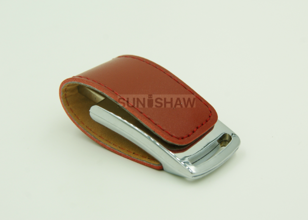 SL-002 Brown PU leather usb flash drive with printed or stamped logo