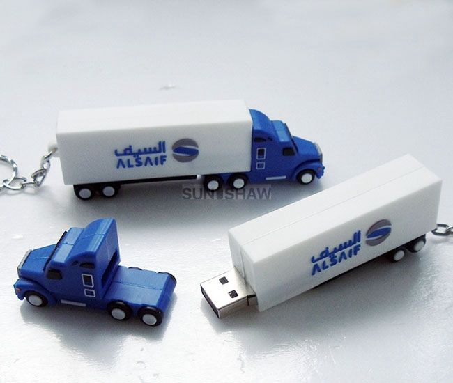 SV-008 White and blue truck shaped soft pvc usb flash drive with real capacity
