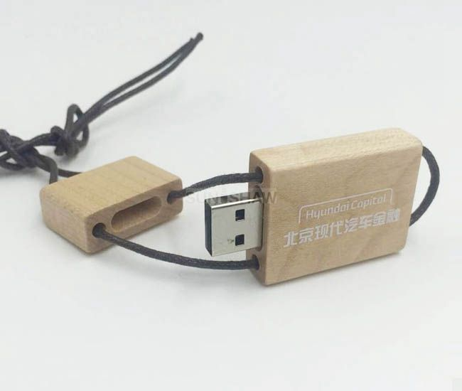 SD-003 Wooden usb memory with lanyard as Christmas gift