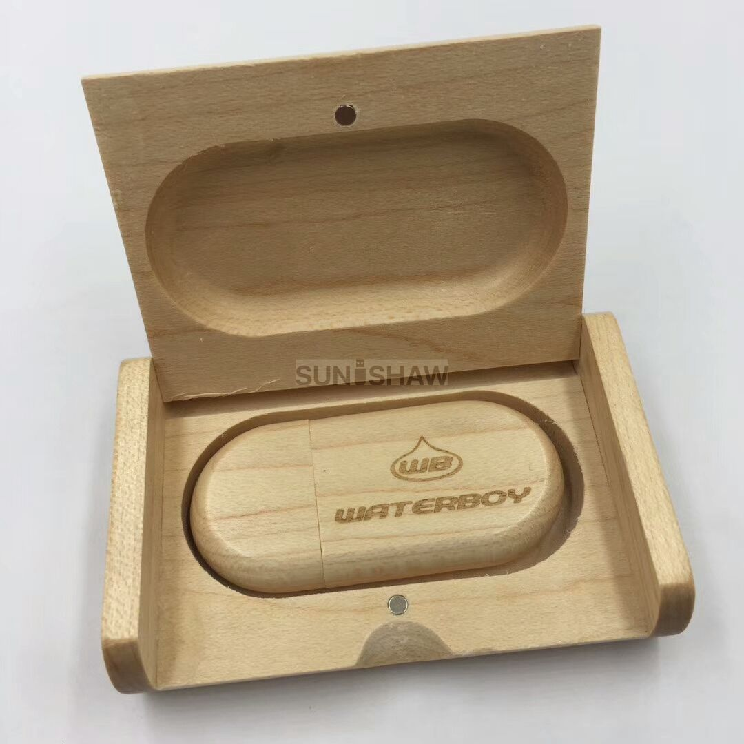 SD-001 Wooden usb memory with wooden box as wedding gift